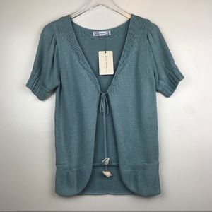NWT Zara Blue Open Front Seashell Cardigan - LG F4